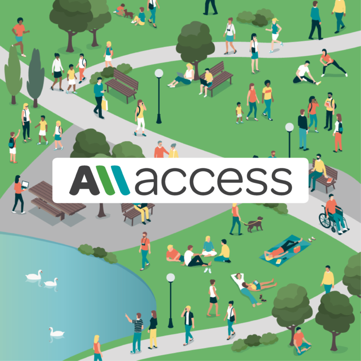a clip art graphic, with superimposed AllAccess logo, showing many people of a range of abilities enjoying a public park that features generous paving around seating and a pond