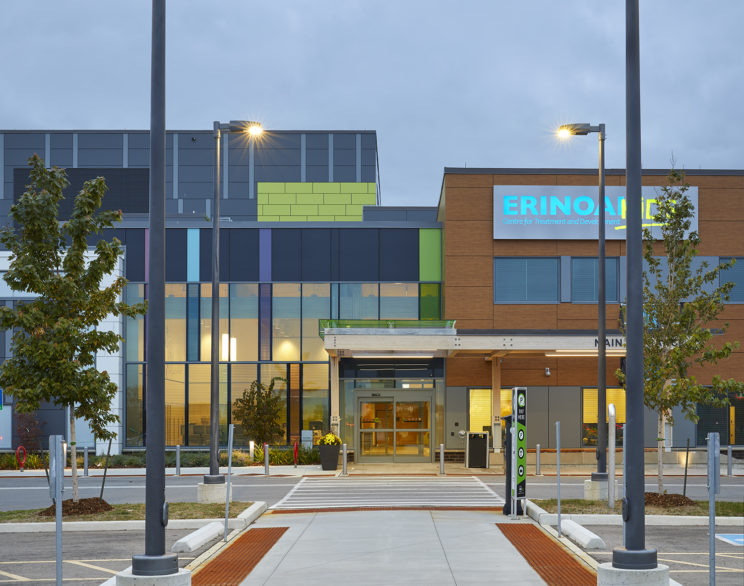 main entrance across a crosswalk to Mississauga ErinoakKids building