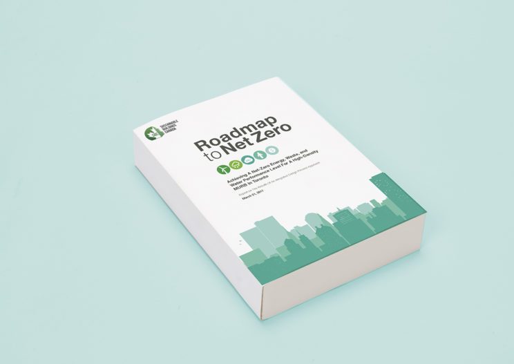 "hard copy report on Roadmap to Net Zero, with the Sustainable Buildings Canada logo and the words ""Achieving a Net Zero Energy, Waste, and Water Performance Level for a High-Density MURB in Toronto"""