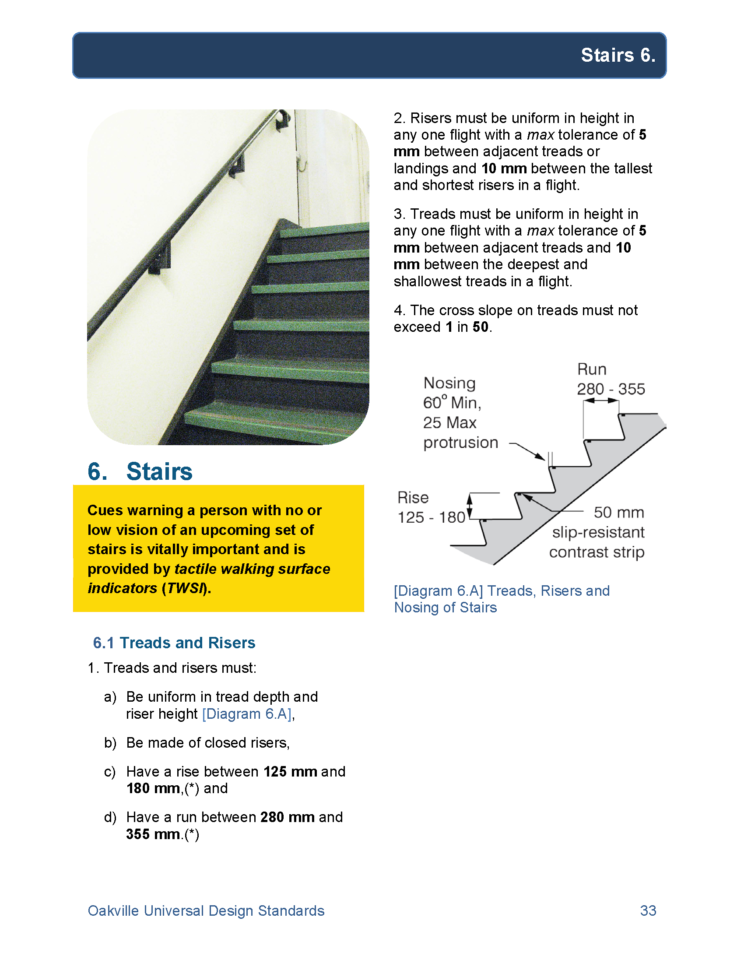 page from the Oakville Universal Design Standards report developed by Human Space, with text and diagrams detailing dimensions recommended for stair rise and run