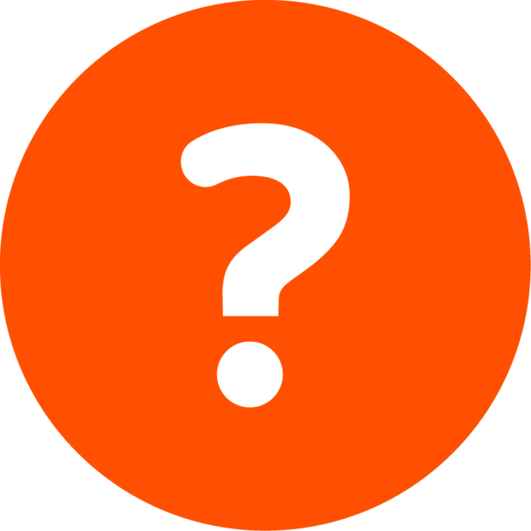 Orange circle with centered white Question mark