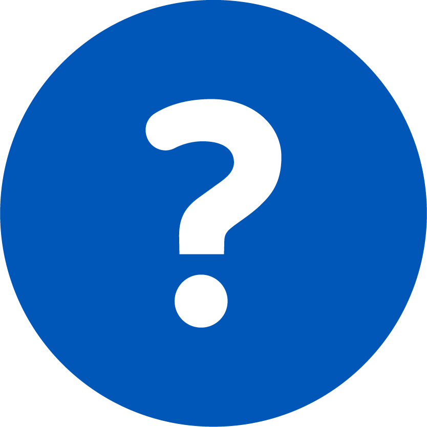 Blue circle with centered white Question mark