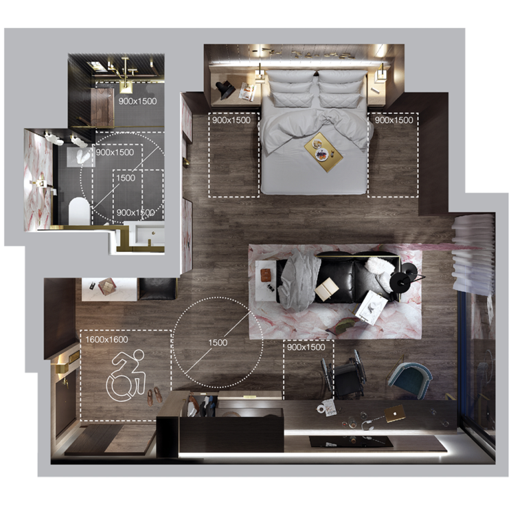 aerial rendering of a hotel suite showing the floor plan and dimensions of clearances and turning circles throughout