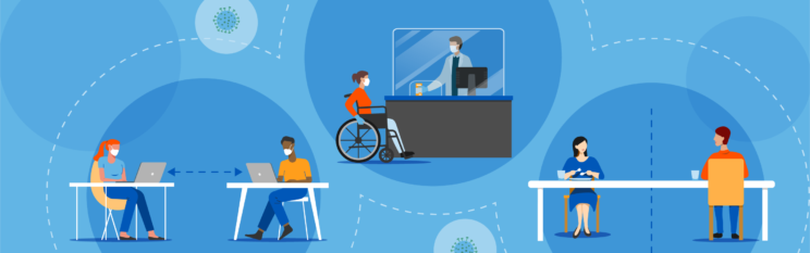 graphic showing diverse people doing activities while wearing masks including a person in a wheelchair speaking to a pharmacist, and a man working on a laptop