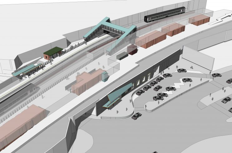 rendering showing the spatial planning of a train station, from the parking lot, entrance, station, and platforms