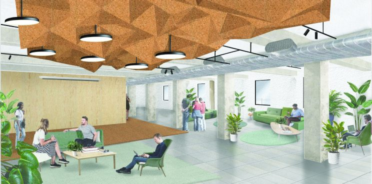 illustration of a modern workplace with couches, lounge chairs, lots of plants and daylight ad textured cork ceiling feature