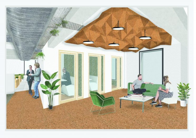 illustration of a casual lounge area with stylish green couch and accent chair in an office, located beside a meeting room, with textured cork ceiling fixture overhead