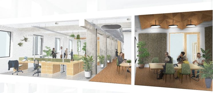 cross section of an office interior with workstations on the left and boardroom on the right, with lots of plants and bio-based materials such as woo and cork