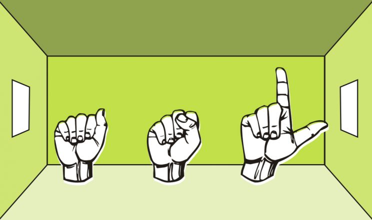 the ASL signs for A S L in a green room