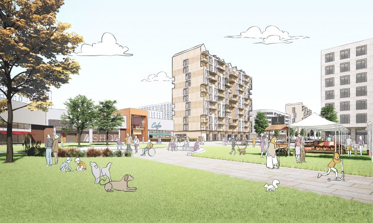 rendering of an apartment building and a diverse group of people enjoying a park in the foreground