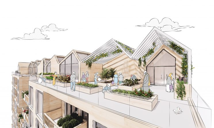 rendering of a rooftop amenity with garden plots and pitched roof trellises with greenery