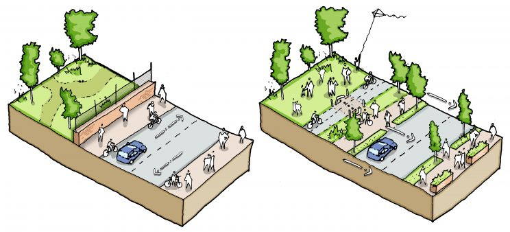 before and after sketches of a park beside a road, with the after image having removed a wall separating pedestrians from a park and added bike lanes