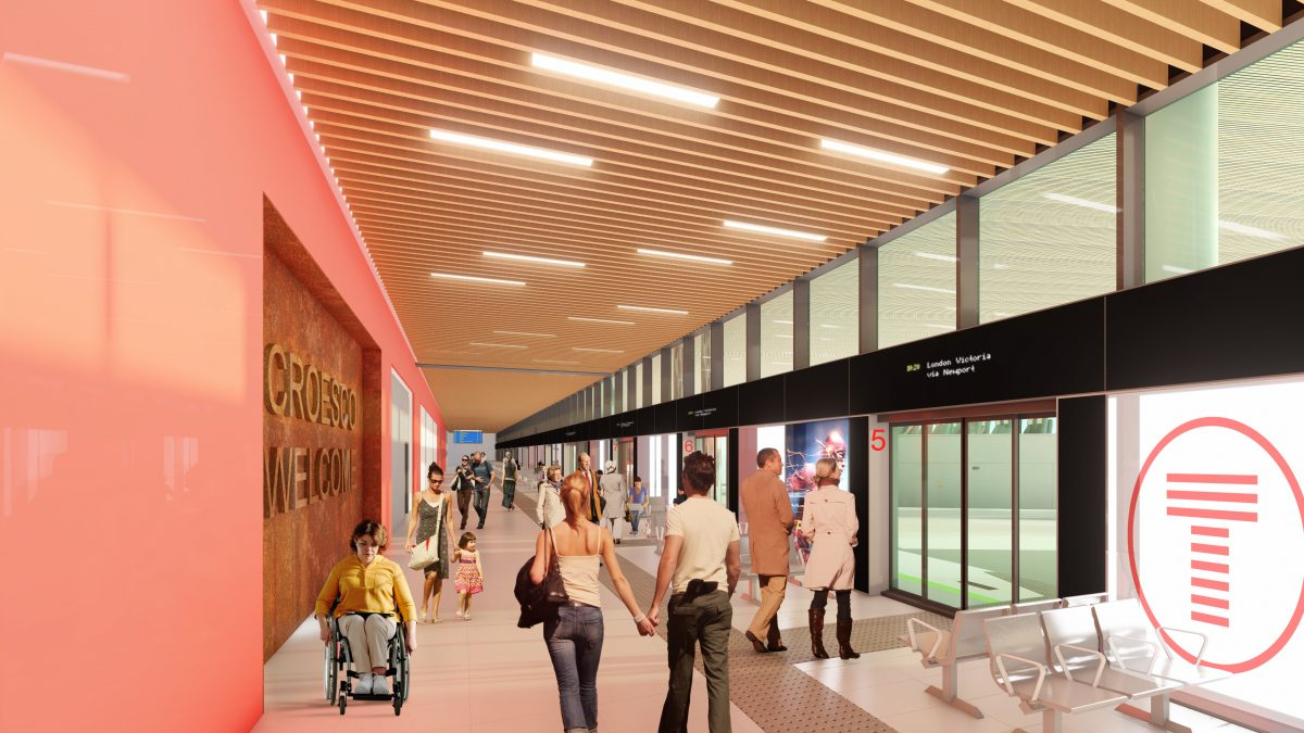rendering of people in a bus station with the bay numbers clearly identified, seating near floor to ceiling windows, and modern wood slat ceiling with LED lights