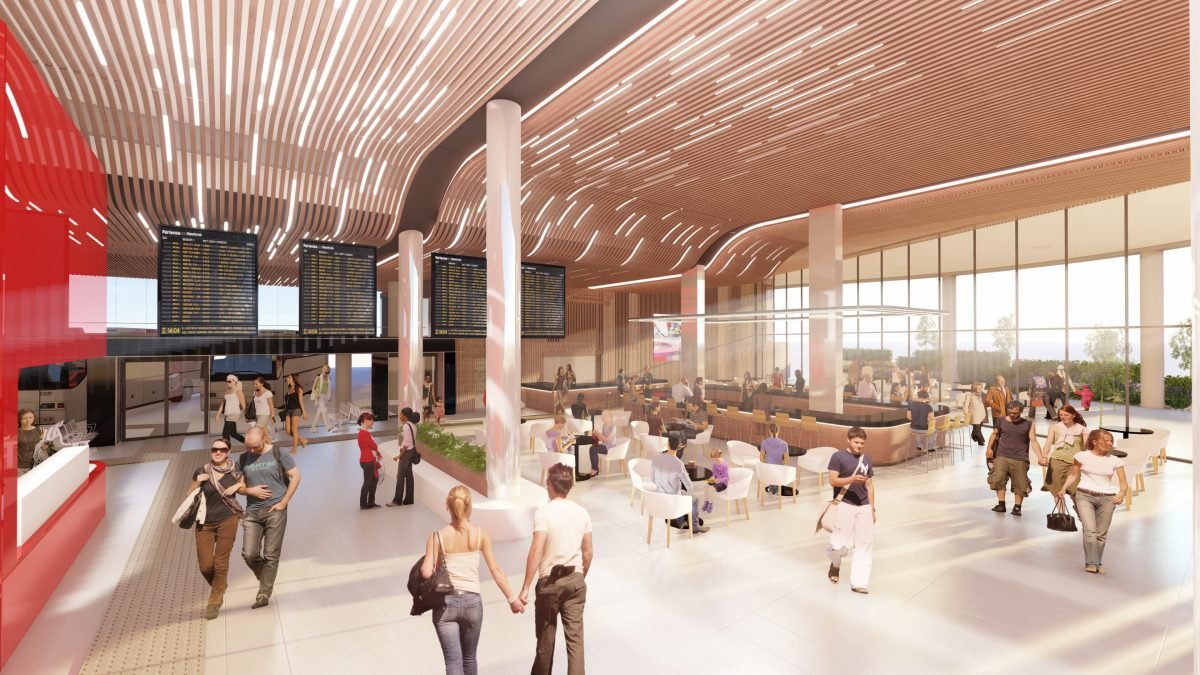 rendering of an entrance atrium for a bus and train transit station, with departure and arrival screens, ticket desks, seating, lots of natural light and high, curved warm wooden ceilings