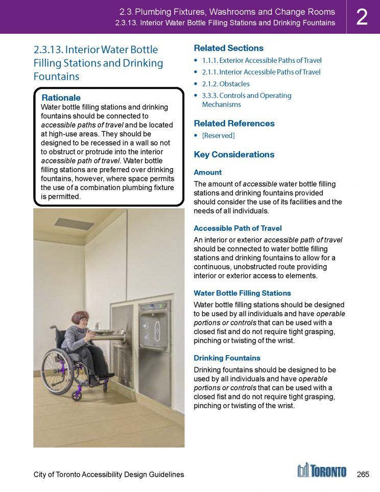 page from the Toronto Accessibility Design Guidelines booklet giving an overview of what is covered in the Plumbing, Fixtures, Washrooms, and Change Rooms section
