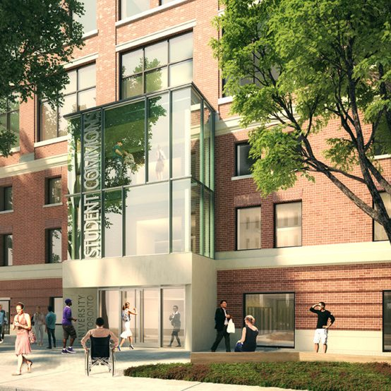 rendering showing people outside a building with a glass vestibule at the entrance with the words Student Commons above the door