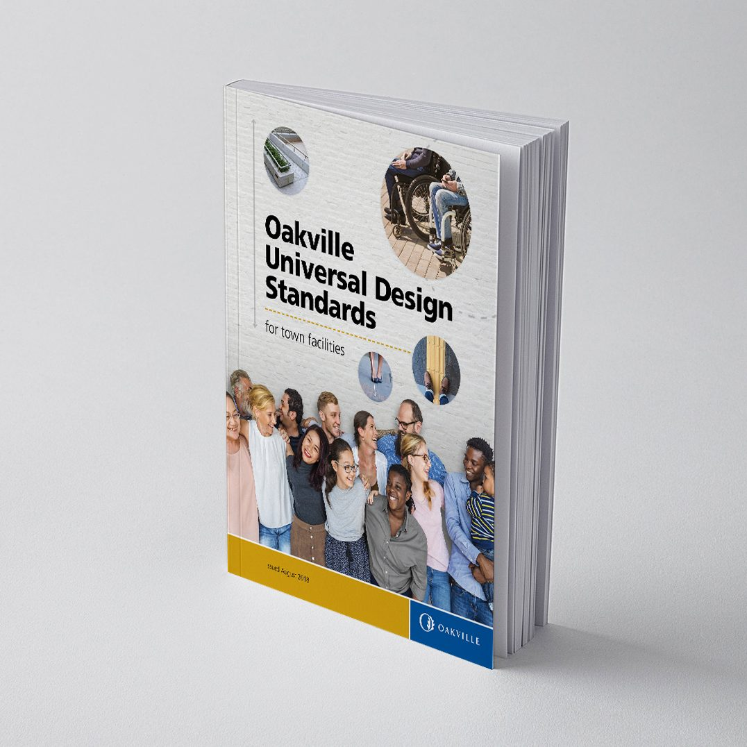 a book titled Oakville Universal Design Standards for Town Facilities with Town of Oakville logo