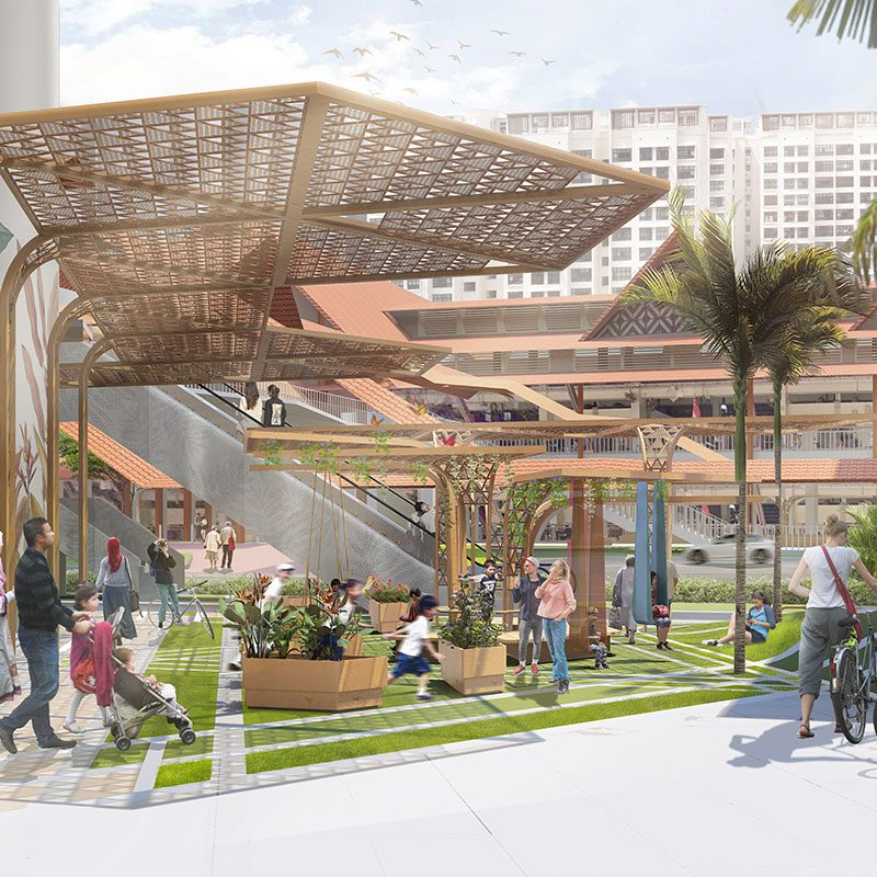 rendering of an outdoor public gathering space with landscaped parkette under trellis-like overhangs, plenty of seating options, cyclists and diverse people enjoying the space