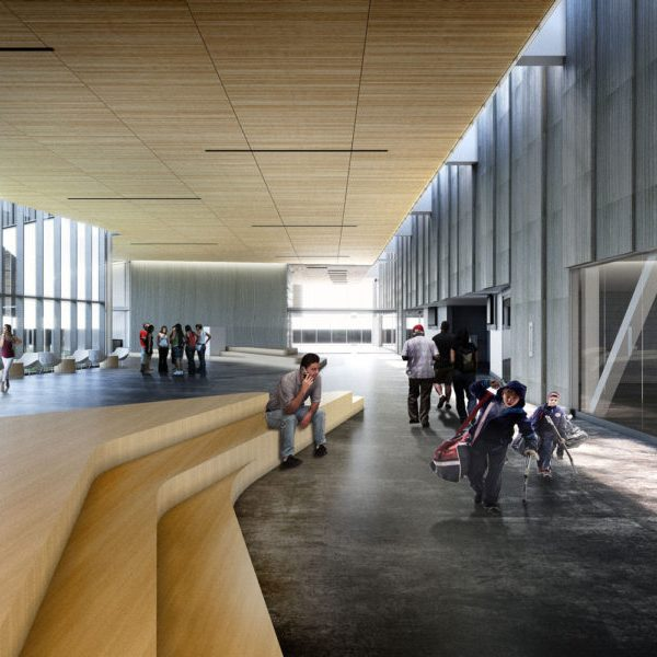 rendering of a spacious lobby with high wood ceilings and wooden benching